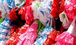 Χαρακτηριστικό χρωματισμένο ισπανικό flamenco φόρεμα, Ανδαλουσία, Ισπανία Στοκ Φωτογραφία