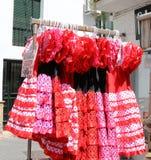 Χαρακτηριστικό χρωματισμένο ισπανικό flamenco φόρεμα Στοκ Εικόνες