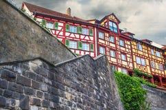 Χαρακτηριστικό arquitecture σε Meersburg, λίμνη Constance Στοκ εικόνες με δικαίωμα ελεύθερης χρήσης