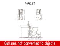 Χαρακτηριστικό Forklift πρότυπο σχεδιαγραμμάτων περιλήψεων γενικών διαστάσεων Στοκ φωτογραφία με δικαίωμα ελεύθερης χρήσης