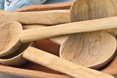 Χαρασμένα ξύλινα κουτάλια Στοκ Εικόνα