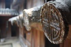 Χαρασμένα σύμβολα σε έναν ναό Στοκ εικόνα με δικαίωμα ελεύθερης χρήσης