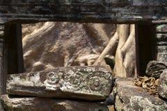 Χαρασμένη floral bas-ανακούφιση στην καταστροφή πετρών Ο σύνθετος ναός Wat Angkor, Siem συγκεντρώνει, Καμπότζη Καταστροφή και δέν Στοκ φωτογραφία με δικαίωμα ελεύθερης χρήσης