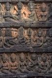 χαρασμένος τοίχος πεζουλιών ελεφάντων apsara angkor η Καμπότζη thom Στοκ εικόνες με δικαίωμα ελεύθερης χρήσης