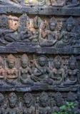 χαρασμένος τοίχος πεζουλιών ελεφάντων apsara angkor η Καμπότζη thom Στοκ Φωτογραφία