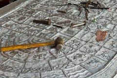 Χαρασμένο ασήμι λι Wat Lok Mo στο chiangmai Στοκ Εικόνες