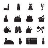 Χαρασμένο επίπεδο εικονίδιο σκιαγραφιών, απλό διανυσματικό σχέδιο Σύνολο εικονιδίων στο θηλυκό θέμα Κραγιόν, φόρεμα, τσάντα γυναι Στοκ Εικόνες