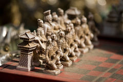 χαρασμένο μογγολικό σύνολο σκακιού στοκ φωτογραφίες