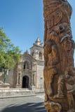 Χαρασμένο τοτέμ Πολωνός σε Yanahuara και την εκκλησία Yanahuara ή San Juan Bautista de Yanahuara Church - Arequipa, Περού Στοκ Φωτογραφία