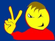 Χαρισματικό αγόρι με το σημάδι νίκης ελεύθερη απεικόνιση δικαιώματος