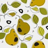 Χαριτωμένα άνευ ραφής σχέδια με τα αχλάδια και τα φύλλα Στοκ Φωτογραφία