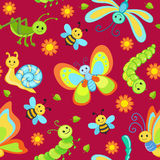 Χαριτωμένα άνευ ραφής σχέδια με τα ευτυχή έντομα κινούμενων σχεδίων Στοκ φωτογραφία με δικαίωμα ελεύθερης χρήσης