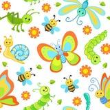 Χαριτωμένα άνευ ραφής σχέδια με τα ευτυχή έντομα κινούμενων σχεδίων Στοκ Φωτογραφίες