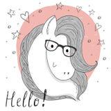 Χαριτωμένα άλογο και σκίτσο γυαλιών doodle επίσης corel σύρετε το διάνυσμα απεικόνισης Στοκ εικόνα με δικαίωμα ελεύθερης χρήσης