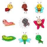Χαριτωμένα έντομα και ζωύφια κινούμενων σχεδίων Στοκ φωτογραφίες με δικαίωμα ελεύθερης χρήσης