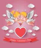Χαριτωμένα αγόρι και κορίτσι cupids διανυσματική απεικόνιση