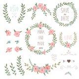 Χαριτωμένα αναδρομικά floral ανθοδέσμες και στεφάνι Στοκ εικόνες με δικαίωμα ελεύθερης χρήσης