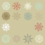 Χαριτωμένα αναδρομικά Snowflakes. EPS 10 Στοκ Εικόνες