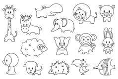 Χαριτωμένα αυτοκόλλητες ετικέττες ή εικονίδια κινούμενων σχεδίων άγριων και κατοικίδιων ζώων καθορισμένες Αστείο λιοντάρι, πουλί, απεικόνιση αποθεμάτων