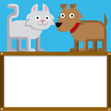 Χαριτωμένα γάτα και σκυλί κινούμενων σχεδίων με το διάστημα για το κείμενο Στοκ Φωτογραφία