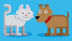 Χαριτωμένα γάτα και σκυλί κινούμενων σχεδίων στο μπλε υπόβαθρο Στοκ εικόνα με δικαίωμα ελεύθερης χρήσης