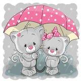 χαριτωμένα γατάκια δύο ελεύθερη απεικόνιση δικαιώματος