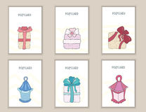 Χαριτωμένα γενέθλια, κόμμα, κάρτες, φυλλάδια, προσκλήσεις με τα δώρα κιβωτίων και τόξα doodle, φω'τα Εκτυπώσιμα πρότυπα καθορισμέ Στοκ Εικόνα