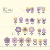 Χαριτωμένα διακοσμητικά στοιχεία σχεδίου λουλουδιών καθορισμένα Στοκ φωτογραφία με δικαίωμα ελεύθερης χρήσης