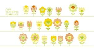 Χαριτωμένα διακοσμητικά στοιχεία σχεδίου λουλουδιών καθορισμένα Στοκ Εικόνες