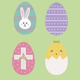 Χαριτωμένα εικονίδια αυγών Πάσχας στο επίπεδο σχέδιο Στοκ Φωτογραφία
