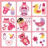 Χαριτωμένα εικονίδια κινούμενων σχεδίων για το ασιατικό νεογέννητο κοριτσάκι Στοκ φωτογραφία με δικαίωμα ελεύθερης χρήσης