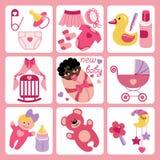Χαριτωμένα εικονίδια κινούμενων σχεδίων για το νεογέννητο κοριτσάκι μιγάδων Στοκ εικόνα με δικαίωμα ελεύθερης χρήσης