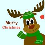 Χαριτωμένα ελάφια κινούμενων σχεδίων με τη σφαίρα Χριστουγέννων στα ελαφόκερες στοκ εικόνες με δικαίωμα ελεύθερης χρήσης