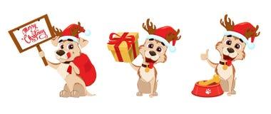 Χαριτωμένα ελαφόκερες σκυλιών που φορούν το καπέλο Άγιου Βασίλη και ελαφιών Σύνολο Στοκ εικόνα με δικαίωμα ελεύθερης χρήσης