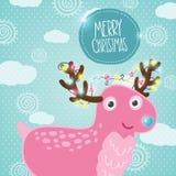 Χαριτωμένα ελάφια Χριστουγέννων κινούμενων σχεδίων Στοκ Εικόνα