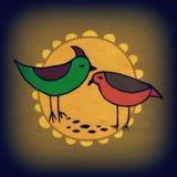 Χαριτωμένα ζωηρόχρωμα πουλιά καθορισμένα Εικόνα ράστερ Στοκ Φωτογραφία
