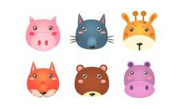 Χαριτωμένα ζωικά κεφάλια καθορισμένα, αστεία πρόσωπα του χοίρου, λύκος, giraffe, αλεπού, αρκούδα, διανυσματική απεικόνιση hippo σ διανυσματική απεικόνιση