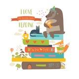 Χαριτωμένα ζώα κινούμενων σχεδίων που διαβάζουν τα βιβλία Στοκ Φωτογραφία
