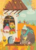 Χαριτωμένα ζώα που κάθονται τη φωτιά στο κατώφλι Στοκ Εικόνες