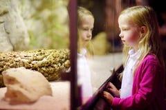 Χαριτωμένα ζώα προσοχής μικρών κοριτσιών στο ζωολογικό κήπο Ζώα ζωολογικών κήπων προσοχής παιδιών μέσω του παραθύρου Στοκ Εικόνα