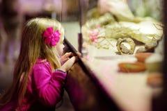 Χαριτωμένα ζώα προσοχής μικρών κοριτσιών στο ζωολογικό κήπο Ζώα ζωολογικών κήπων προσοχής παιδιών μέσω του παραθύρου Στοκ φωτογραφίες με δικαίωμα ελεύθερης χρήσης