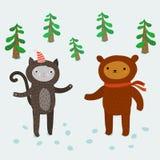 Χαριτωμένα ζώα χαιρετισμός καλή χρονιά καρτών του 2007 Στοκ Εικόνα