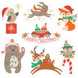 Χαριτωμένα ζώα Χριστουγέννων διανυσματική απεικόνιση