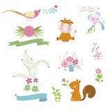 Χαριτωμένα ζώο κινούμενων σχεδίων και στοιχείο λουλουδιών Στοκ εικόνα με δικαίωμα ελεύθερης χρήσης