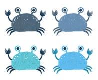 Χαριτωμένα διανυσματικά εικονίδια καβουριών κινούμενων σχεδίων ελεύθερη απεικόνιση δικαιώματος