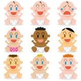 Χαριτωμένα διαφορετικά μωρά διανυσματικά κινούμενων σχεδίων καθορισμένα Στοκ Εικόνα