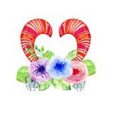 Χαριτωμένα κέρατα watercolor Στοκ Φωτογραφίες