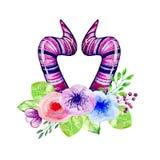 Χαριτωμένα κέρατα watercolor Στοκ φωτογραφίες με δικαίωμα ελεύθερης χρήσης