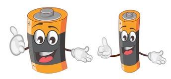 Χαριτωμένα και αστεία κινούμενα σχέδια χαρακτήρα μπαταριών επίσης corel σύρετε το διάνυσμα απεικόνισης διανυσματική απεικόνιση