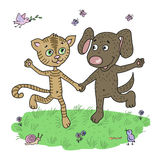 Χαριτωμένα και αστεία κουτάβι και γατάκι φίλων που τρέχουν γύρω από το λιβάδι διανυσματική απεικόνιση